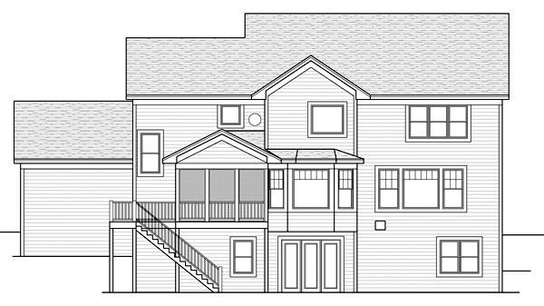 Craftsman Traditional House Plan 42520 Rear Elevation