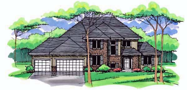 Country, Craftsman, Traditional House Plan 42539 with 4 Beds, 3 Baths, 3 Car Garage Elevation