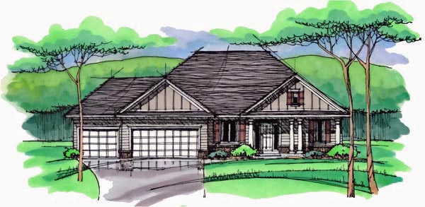 Cottage, Country, Craftsman, European, Ranch, Traditional House Plan 42546 with 3 Beds, 3 Baths, 3 Car Garage Elevation