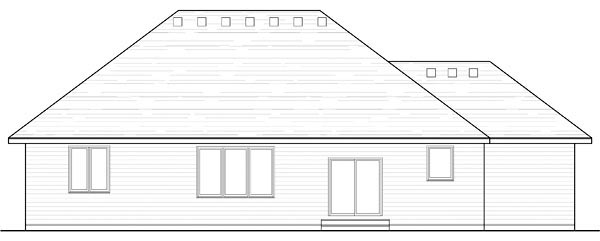 Cottage, Country, Craftsman, European, Ranch, Traditional House Plan 42546 with 3 Beds, 3 Baths, 3 Car Garage Rear Elevation