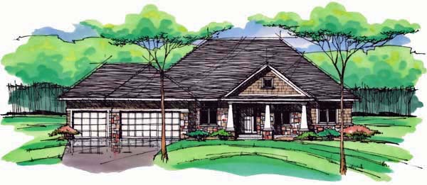 Cottage Country Craftsman European Ranch Traditional House Plan 42554 Elevation