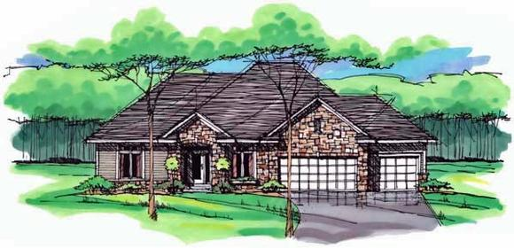 Cottage, Country, Craftsman, European, Ranch, Traditional House Plan 42555 with 3 Beds, 2 Baths, 3 Car Garage Elevation