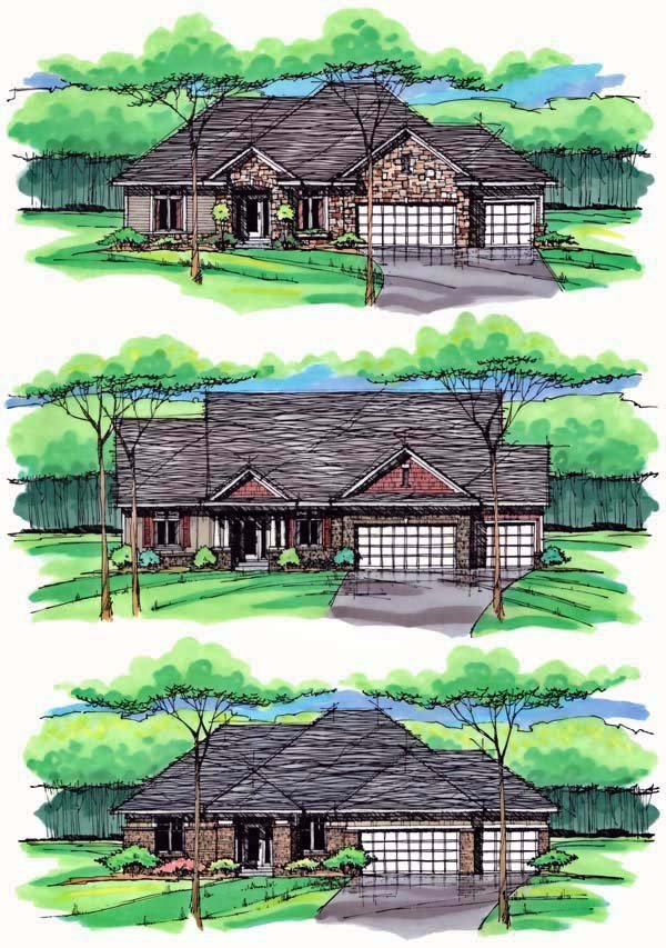 Cottage, Country, Craftsman, European, Ranch, Traditional House Plan 42555 with 3 Beds, 2 Baths, 3 Car Garage Picture 1