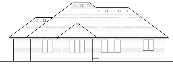 Cottage, Country, Craftsman, European, Ranch, Traditional House Plan 42555 with 3 Beds, 2 Baths, 3 Car Garage Rear Elevation