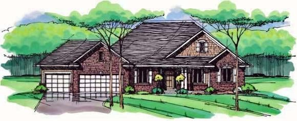 Cottage, Country, Craftsman, European, Ranch, Traditional House Plan 42557 with 3 Beds, 2 Baths, 3 Car Garage Elevation