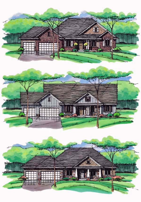 Cottage, Country, Craftsman, European, Ranch, Traditional House Plan 42557 with 3 Beds, 2 Baths, 3 Car Garage Picture 1