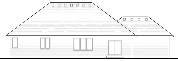 Cottage, Country, Craftsman, European, Ranch, Traditional House Plan 42557 with 3 Beds, 2 Baths, 3 Car Garage Rear Elevation