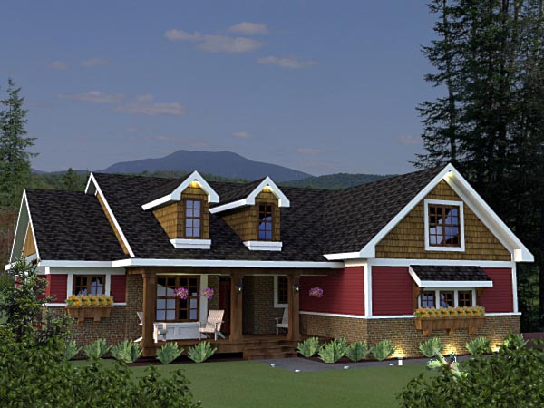 Craftsman House Plan 42623 with 3 Beds, 2 Baths, 2 Car Garage Elevation