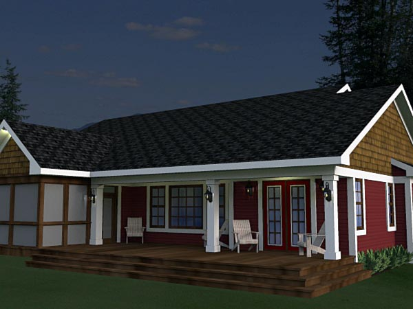 Craftsman House Plan 42623 with 3 Beds, 2 Baths, 2 Car Garage Rear Elevation