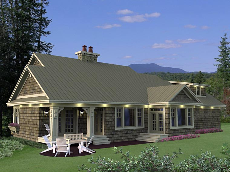 Craftsman, European House Plan 42650 with 3 Beds, 3 Baths, 2 Car Garage Rear Elevation