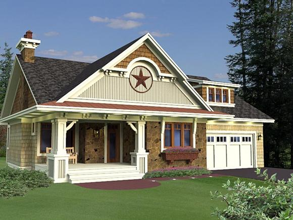 Craftsman, European House Plan 42651 with 3 Beds, 2 Baths, 2 Car Garage Elevation