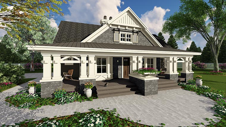 Craftsman Style House Plan 42653 with 3 Bed, 3 Bath, 2 Car Garage on