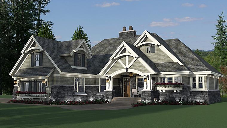Bungalow, Cottage, Country, Craftsman, Tudor House Plan 42680 with 3 Beds, 3 Baths, 2 Car Garage Picture 6