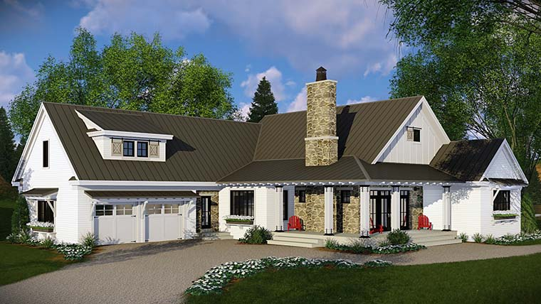 Country Farmhouse French Country Traditional House Plan 42682 Rear Elevation