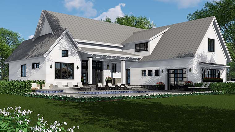 Country Farmhouse Southern Traditional House Plan 42687 Rear Elevation