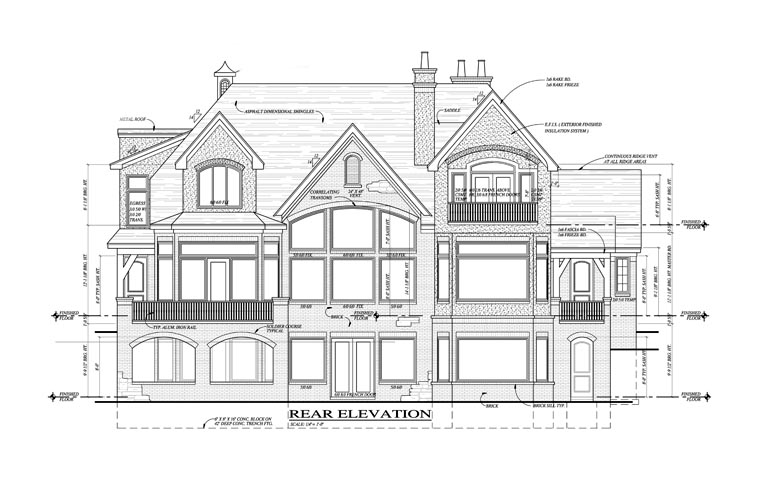 European French Country Tudor House Plan 42820 Rear Elevation
