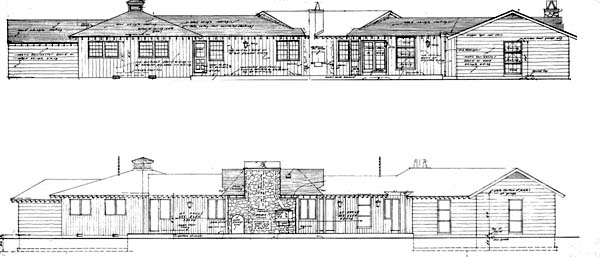 Country, Ranch, Retro House Plan 43001 with 4 Beds, 3 Baths, 2 Car Garage Rear Elevation