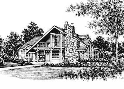 Cabin House Plan 43004 Elevation