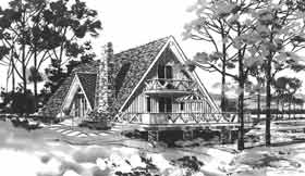 A-Frame, Retro House Plan 43025 with 3 Beds, 2 Baths Elevation