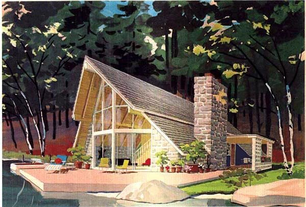 a frame cabin contemporary house plan 43048 elevation - A Frame House Plans