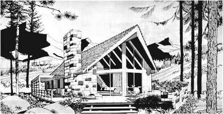 A-Frame Contemporary Elevation of Plan 43055