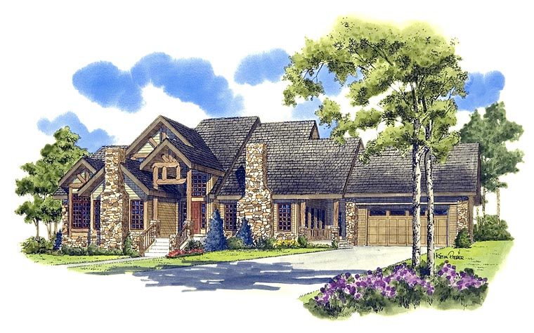 Craftsman Ranch Tudor House Plan 43200 Elevation