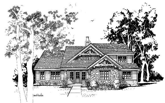 Cabin, Craftsman, Tudor House Plan 43201 with 4 Beds, 3 Baths Elevation