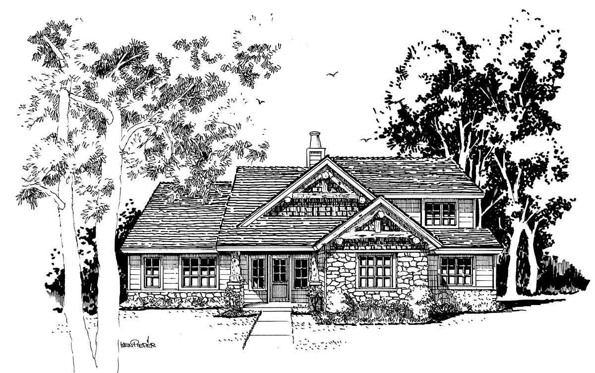 Cabin Craftsman Tudor House Plan 43201 Elevation