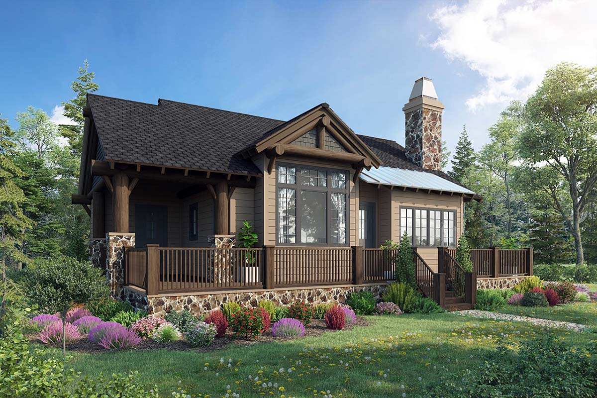 Craftsman Style House Plan 43204 with 2 Bed, 2 Bath