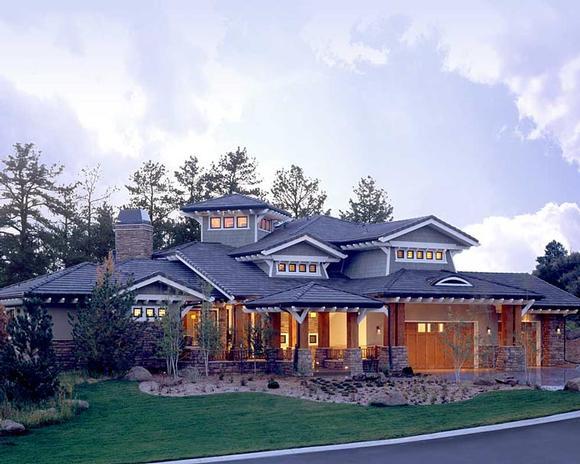 Craftsman, Prairie, Southwest House Plan 43205 with 5 Beds, 7 Baths, 3 Car Garage Elevation