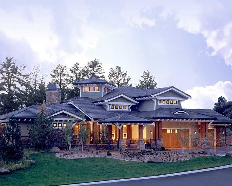 Craftsman Prairie Style Southwest House Plan 43205 Elevation