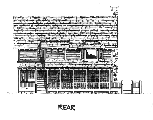 Cabin Cape Cod Country House Plan 43206 Rear Elevation