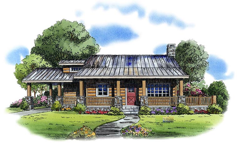 Cabin Country Log House Plan 43211 Elevation