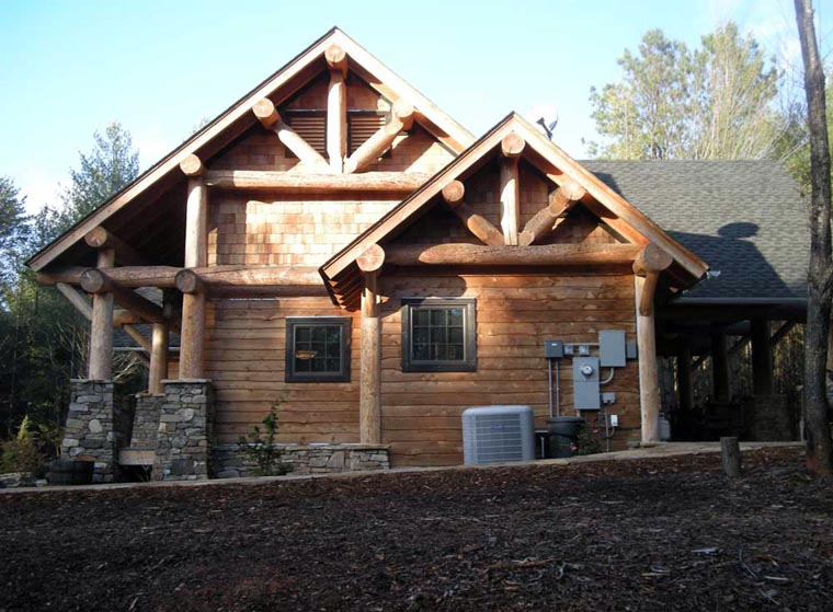 cabin craftsman log house plan 43214 On craftsman log home plans