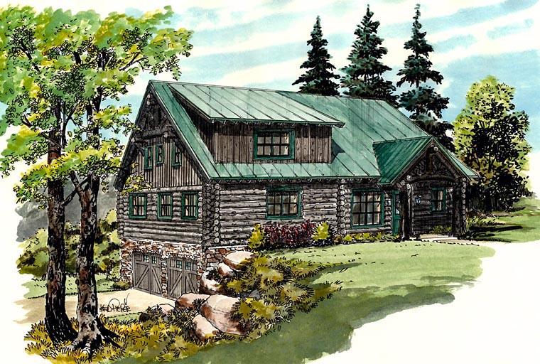 Cabin Log House Plan 43217 Elevation