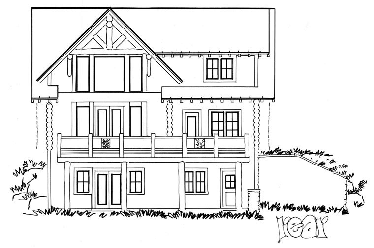 Cabin Log House Plan 43217 Rear Elevation