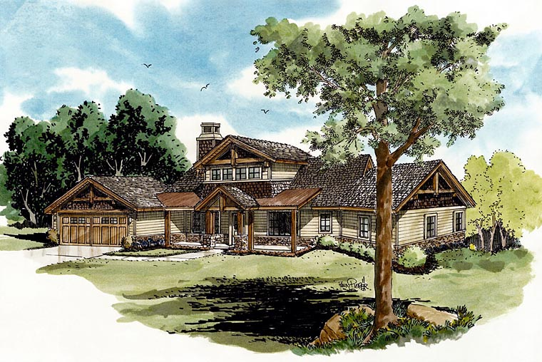 Cabin Log House Plan 43218 Elevation