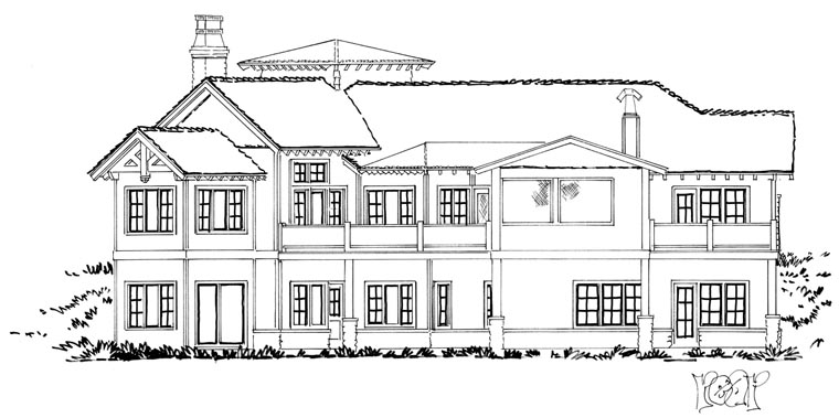 Craftsman European Tudor House Plan 43220 Rear Elevation