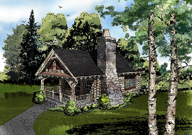 Cabin Country Craftsman Log House Plan 43229 Elevation