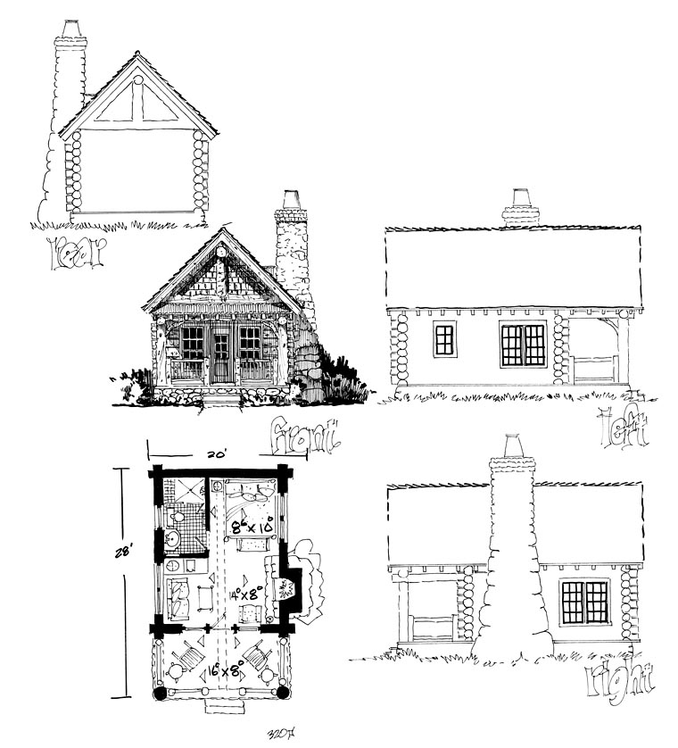 Cabin Country Craftsman Log House Plan 43229 Rear Elevation