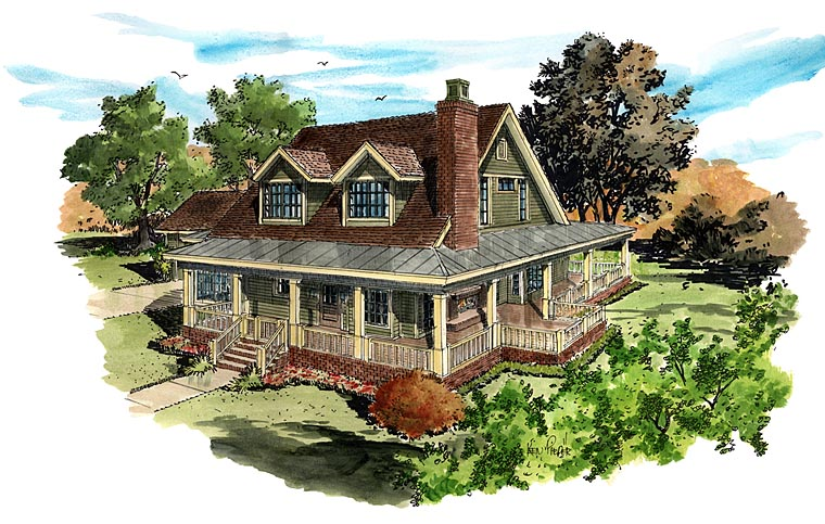 Country Farmhouse Southern House Plan 43237 Elevation