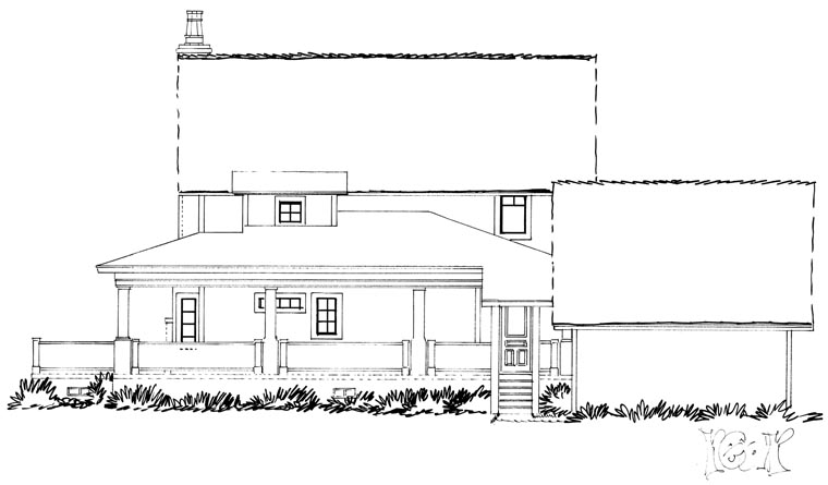 Country Farmhouse Southern House Plan 43237 Rear Elevation