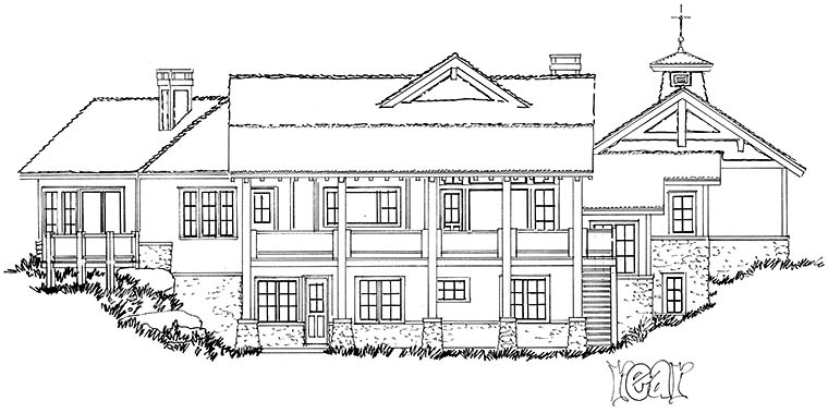 Cottage Country Craftsman House Plan 43238 Rear Elevation
