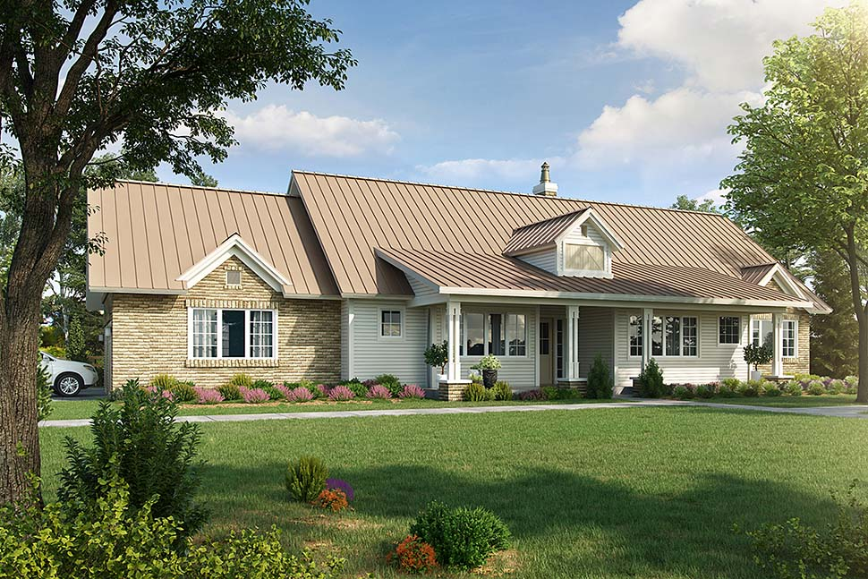 Country, Farmhouse, Traditional House Plan 43245 with 3 Beds, 3 Baths, 3 Car Garage Elevation