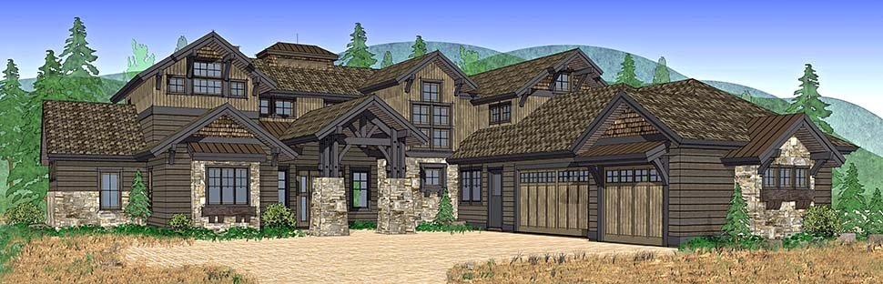 Craftsman House Plan 43303 with 4 Beds, 5 Baths, 3 Car Garage Picture 1