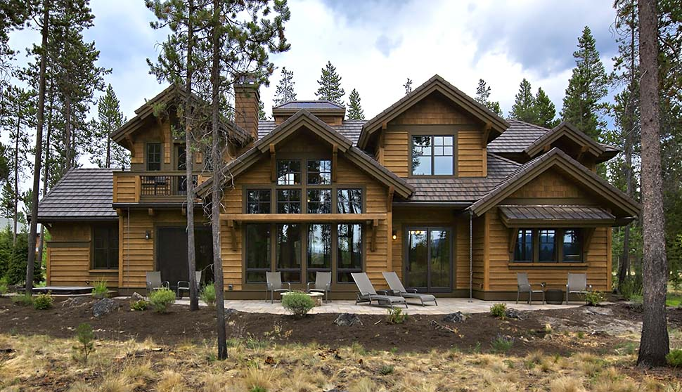 Craftsman House Plan 43303 with 4 Beds, 5 Baths, 3 Car Garage Rear Elevation