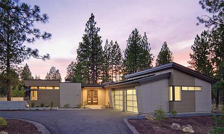 Contemporary, Modern House Plan 43310 with 2 Beds, 2 Baths, 2 Car Garage