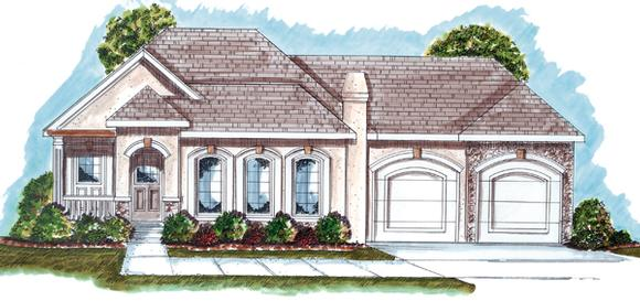 Florida, Mediterranean, One-Story, Southwest House Plan 44020 with 2 Beds, 2 Baths, 2 Car Garage Elevation