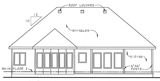Bungalow Traditional House Plan 44025 Rear Elevation