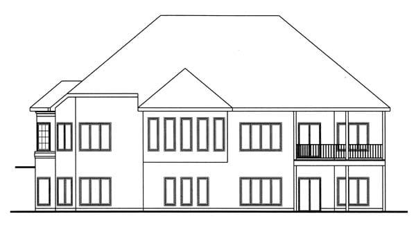 European Traditional House Plan 44049 Rear Elevation